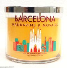 1 Bath & Body Works BARCELONA Mandarins & Mosaics 3-Wick 14.5oz Large Candle