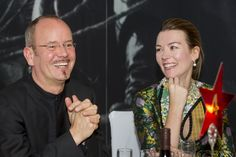 Frank Strobel (conductor) and Justine Waddell (Kino Klassika founder) at the dinner following Eisenstein's October