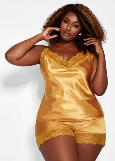 Satin Pajama Set. Shop Ashley Stewart for this plus size pajama set PJs  lingerie intimates  sexy sleeveless tank top + comfy shorts w  silky ... 6411c0590