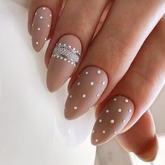 Matte Wedding Nails With Cute Dotticure ❤️18 Gorgeous Wedding Nails Ideas ❤️ See more: https://naildesignsjournal.com/wedding-nails-ideas/ #naildesignsjournal #nails #nailart #naildesigns