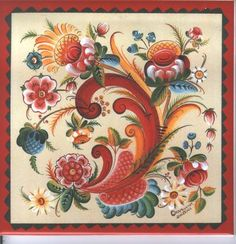 Rosemaling on square tile