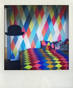 Isn't this fun? Over The Rainbow, Geometry, Interior Decorating, Colours, Bedroom, Prints, Fun, Pictures, Painting