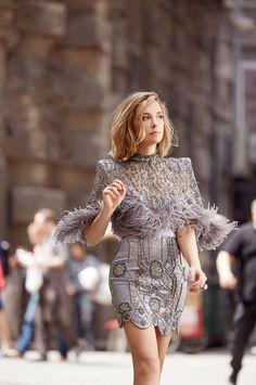 elegant dress with fur details