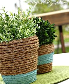 A little rope seems to turn anything into wonderful coastal decor, e.g., these terra cotta pots