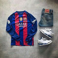 Fc Barcelona Outfit grid Jordan 3 true blue