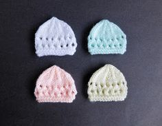 I decided to make micro-preemie sizes of a few of my little hats - perfect for very early premature babies or Angel babies born too soon....