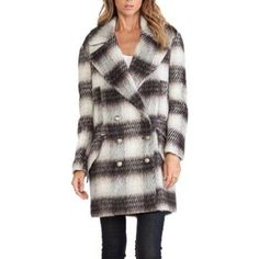 "Tommy Plaid coat NWT Tommy Plaid coat by BB Dakota in brown and cream • acrylic blend • button front closure • side and front pockets • fully lined • no size tag, fits size S, possibly M, 24"" from armpit to armpit, length 34"" BB Dakota Jackets & Coats"