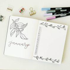 Bullet journal monthly calendar, linear calendar, vertical calendar, plant drawings, bullet journal monthly cover page, January cover page. | @bujo_nina