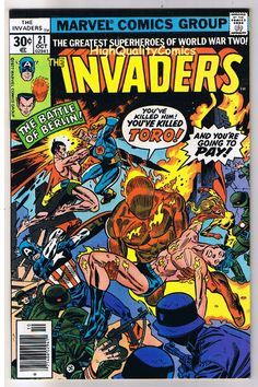 The Invaders Comic | name of comic s title invaders 21 publisher marvel comics art by ...