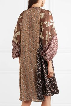 Biyan - Loki Asymmetric Printed Silk-chiffon Dress - Brown