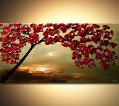 Abstract Contemporary Blooming Tree Acrylic Painting Heavy
