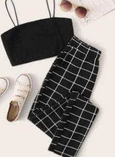 Cute Lazy Outfits, Crop Top Outfits, Komplette Outfits, Retro Outfits, Outfits For Teens, Stylish Outfits, Girls Fashion Clothes, Teen Fashion Outfits, Hipster Clothing