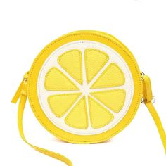 2017 lovely Mini Fruit Bags PU leather Messenger Bags Fashion Circular handbags yellow lemon shoulder bag crossbody QT-290