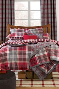 2 Pack Red And Grey Check Bed Set Next