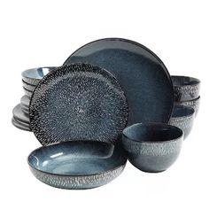 Farmhouse Dinnerware, Stoneware Dinnerware Sets, Blue Dinnerware, Porcelain Dinnerware, Gibson Dinnerware, Tableware, Dinner Bowls, Dinner Plate Sets, Dinner Sets