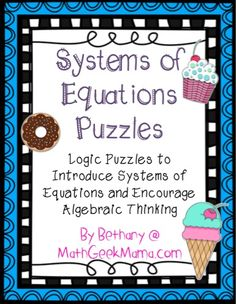 Systems of Equations Puzzles - Teach Junkie - Encourage solving linear equations by starting out with logic puzzles! Here is a set of 5 systems of linear equations puzzles to print. Algebra Lessons, Algebra Worksheets, Algebra Activities, Maths Algebra, Math Resources, Teaching Math, Math Teacher, Teacher Stuff, Classroom Resources