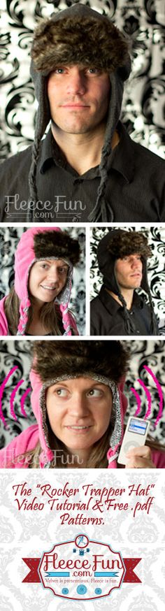 Love how this pattern covers the ears to keep you warm.  FREE pdf pattern and a video tutorial from fleecefun.com - Trapper Hat Pattern - The Rocker Trapper Hat ♥ Fleece Fun #sew #hat #winter