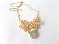 Filigree Necklace -  bridal Necklace -moonstone necklace -  gold necklace- on Etsy, 259.46 ₪