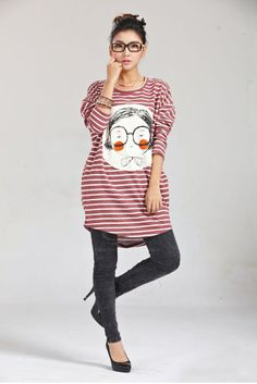 def08894b31 New Style Scoop Neck Plus Size Cartoon Pattern Stripes Long Sleeves Long  T-Shirt For Women