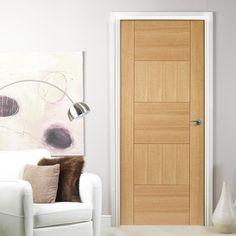 Door Set Kit, Quebec Oak Flush Door - Panelled Effect - Prefinished. #unfinisheddoorsetkit #moderndoorsetkit #moderndoor