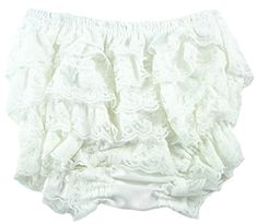 White Lace Ruffle Baby Bloomers (L) ** Want additional info? Click on the image.