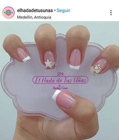 Glam Nails, Manicure And Pedicure, Toe Nails, Beauty Nails, White Nails, Pink Nails, Cute Acrylic Nails, Stylish Nails, Cute Nail Designs