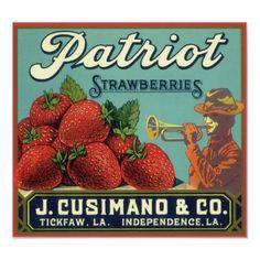 vintage strawberry fruit crate label