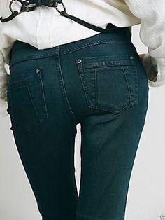 NWOT $128 Free People flare Jeans wake blue Skyler Seamed Skinny 27