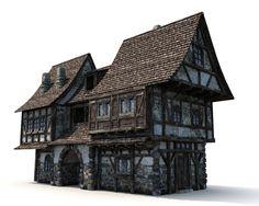 3d 3 medieval houses