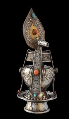 Vase of Longevity with the Deity Hayagriva in Silver and Gold with Coral and Turquoise. North East Tibet or Mongolia Early 19th Century.#MongolianDecorativeArt #TibetanDecorativeArt