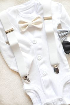 This is a full set cardigan bodysuit with undershirt snap onesie, bowtie and adorable suspenders! Choose the bowtie you would like to have
