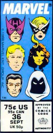 Marvel corner box art - West Coast Avengers (Hawkeye, Mockingbird, Hank Pym, Tigra, Wonder Man and Moon Knight)