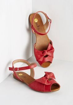Grace in Point Sandal in Cranberry. As if we needed evidence of your sophisticated style, these ruby sandals are utterly adorable! #red #modcloth
