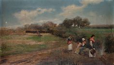 """José Rico y Cejudo (Sevilla, 1864 - 1939)  """"Mujeres junto a un fuego"""", 1889"""
