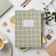 Green Grid Lay Flat Notebook   Katie Leamon   Luxury Notebooks