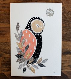 Little Owl Luna - Watercolor Art