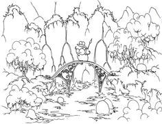 a free coloring page of an alligator riding a bluebison across a bridge in front of waterfalls Forest Coloring Pages, Colouring Pages, Printable Coloring Pages, Coloring Pages For Kids, Coloring Books, Online Coloring, Free Coloring, Desktop, Halloween Coloring