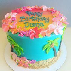Pretty Photo of Hawaiian Birthday Cake - Luau party ideas - Pastel de Tortilla Birthday Cakes For Men, Hawaii Birthday Cake, Hawaii Cake, Themed Birthday Cakes, Themed Cakes, Happy Birthday, Aloha Cake, Birthday Ideas, Amazing Birthday Cakes