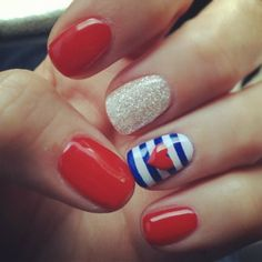 How cute is this simple red, white, and blue nail design?? Show off this look for the 4th of July! Enjoy c: