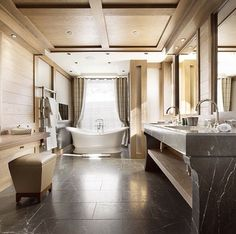 Couple bathrooms with a large walk in shower? Don't see the shower but love this bathroom