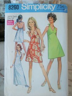 Vintage 1970s Simplicity Sexy Misses Halter Bra Dress with | Etsy Bare Back Dress, Creative Skills, Simplicity Patterns, Top Pattern, 1970s, Sewing Patterns, Bra, Summer Dresses, Sexy