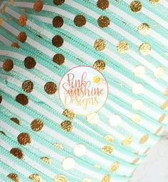 "White Stripes and Gold Polka Dots on Aqua 5/8"" Fold Over Elastic by the Yard - 1, 3 or 5 yards by PinkSunshineSupplies on Etsy"