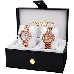 Akribos XXIV Womens AK886RG Genuine Diamond Quartz Rose Gold Bracelet Watch * Check out this great product.