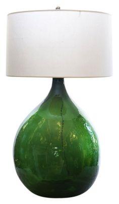 Green demijohn lamp
