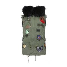 Black Fox Fur Trimmed Khaki Gilet featuring polyvore, women's fashion, clothing, outerwear, vests, fur waistcoat, khaki vest, fur vest and fur gilet