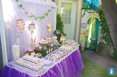 Fairy party table and birthday favour and decoration ideas