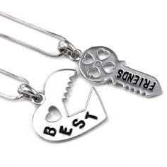 Lock & Key Best Friend Heart Necklace.