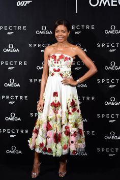 "Best dressed 09.12.15: Naomie Harris in Alexander McQueen at the Omega release of Spectre event ""Such a beautiful dress and worn so well by Harris, who has really nailed the sartorial aspect of this Spectre press tour."" – Danielle Gay, editorial coordinator"