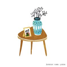 Illustration by Sanny van Loon from the book 'Creative Flow' • www.sannyvanloon.com | vintage sidetable | vase | photoframe