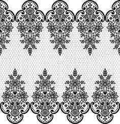Folk Embroidery Patterns Seamless black lace borders vectors Free vector in Border Embroidery Designs, Bead Embroidery Patterns, Folk Embroidery, Lace Patterns, Lace Tattoo Design, Lace Design, Border Pattern, Lace Border, Paisley Background